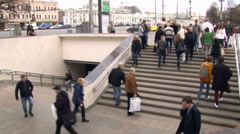 Cityscape. Wide Stairs to the Underground Passage. Pedestrians Walking up and Stock Footage