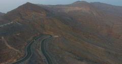 Tracking car from above Jabal al Jais Stock Footage