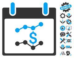 Financial Charts Calendar Day Vector Icon With Bonus Stock Illustration