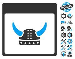 Horned Ancient Helmet Calendar Page Vector Icon With Bonus Stock Illustration