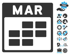 March Calendar Grid Vector Icon With Bonus Stock Illustration