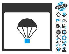 Parachute Calendar Page Vector Icon With Bonus Piirros