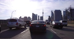4K POV Driving into downtown Toronto on the elevated Gardiner expressway Stock Footage