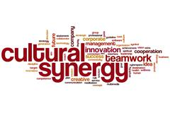 Cultural synergy word cloud Stock Illustration