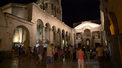 Split, Croatia: a lot of people at the peristyle in the Stock Footage