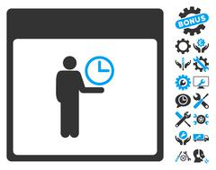 Time Manager Calendar Page Vector Icon With Bonus Stock Illustration