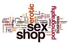Sex shop word cloud Stock Illustration