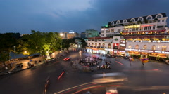 Time lapse-Evening traffic in old quarter in Hanoi, Vietnam Stock Footage