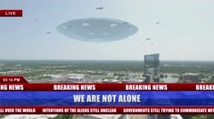 News Footage showing an Alien Flying Saucer Hovering over City Buildings Stock Footage