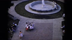 1956: people milling about near a fountain, seen from above CUBA Stock Footage