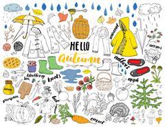 Autumn season set. Hand drawn doodles and lettering vector illustration. Stock Illustration
