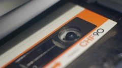 Close Up Compact Cassette Tape Stock Footage