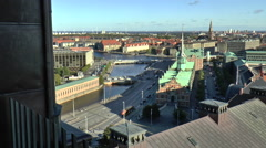 View from Christiansborg Palace Looking out Towards Canal Stock Footage