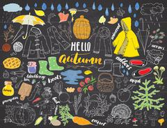 Autumn season set. Hand drawn doodles and lettering vector illustration. Stock Illustration