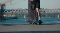 Foot standing on skateboard. Stock Footage