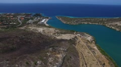 Aerial overview shot of Piscadera Bay, Curacao Stock Footage