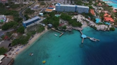 Aerial of Piscadera Bay beaches and Resort on Curacao Stock Footage