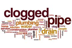 Clogged pipe word cloud Stock Illustration