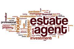 Estate agent word cloud Stock Illustration