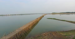 Last Bamboo bridge in Kampong Cham Cambodia Stock Footage