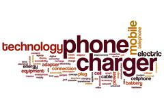 Phone charger word cloud Stock Illustration