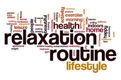 Relaxation routine word cloud Stock Illustration