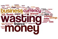 Wasting money word cloud Stock Illustration