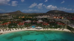 Aeral overview of Marriot Hotel beach on Curacao Stock Footage