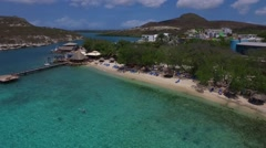 Aerial of Pirates Nest beach on Curacao Arkistovideo
