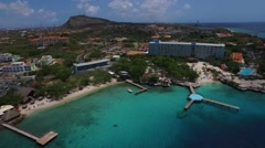 Aerial reveal shot of Piscadera Bay, Curacao Stock Footage