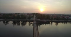 Bridge on sunrise Stock Footage