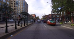 4K POV Driving up Spadina ave in Toronto Chinatown district Stock Footage