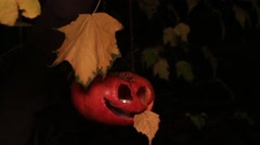 Jack-o-lantern with a tongue hanging out Stock Footage