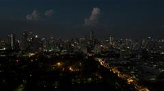 Bird eye time lapse view of night big city panorama of Bangkok, Thailand Stock Footage