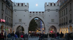 Munich City Gates in the dusk Stock Footage