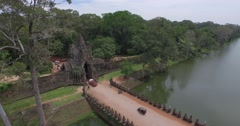 Aerial of South gate of Angkor Wat temple Stock Footage