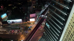 Time lapse night view of big multi-level traffic road intersection near Stock Footage