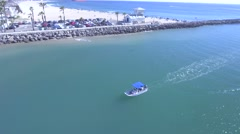 Aerial View of boat in Channel Islands Harbor Stock Footage