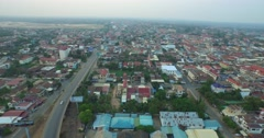 Aerial of Kampong Cham from the sky Stock Footage