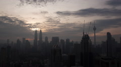 Time lapse panoramic view of constructed modern city Kuala Lumpur, Malaysia Stock Footage