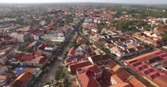 Aerial of Siem Reap city Stock Footage