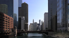 The Chicago Riverwalk on a fine day Stock Footage