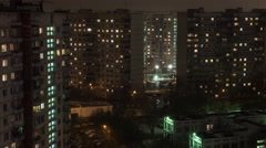 Time lapse view of sleeping buildings and complexes with yard and road, Moscow Stock Footage