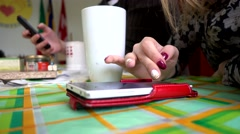 Woman chatting with iphone Mobile Cell Phone in office - close up Stock Footage