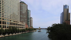 Striking view of the Chicago Riverwalk on a beautiful day Stock Footage