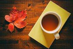 Cup of tea on a book and autumnal leaf Stock Photos