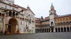 Old town Modena in Italy. Time-lapse of people Stock Footage