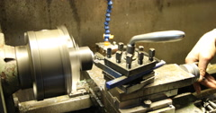 Technician working on lathe machine Stock Footage