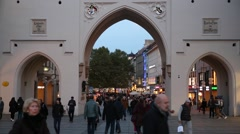 Munich crowds at the city gates Stock Footage
