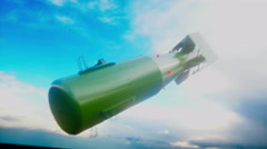 Falling bombs against the dark sky. Atom bomb. Stock Footage